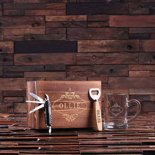 Personalized 4 pc Men's Gift Set w/ Keepsake Box – Beer Mug, Bottle Opener, Swiss Knife