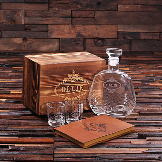Personalized 4 pc Men's Gift Set w/ Keepsake Box – Decanter, Shot Glasses, Journal