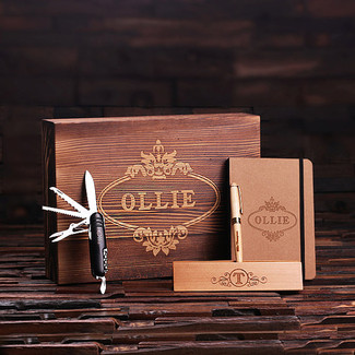 Personalized 4 pc Gift Set w/ Keepsake Box – Wood Pen Set, Metal Army Knife & Journal