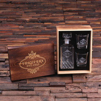 His & Hers Whiskey Decanter with Wood Gift Box