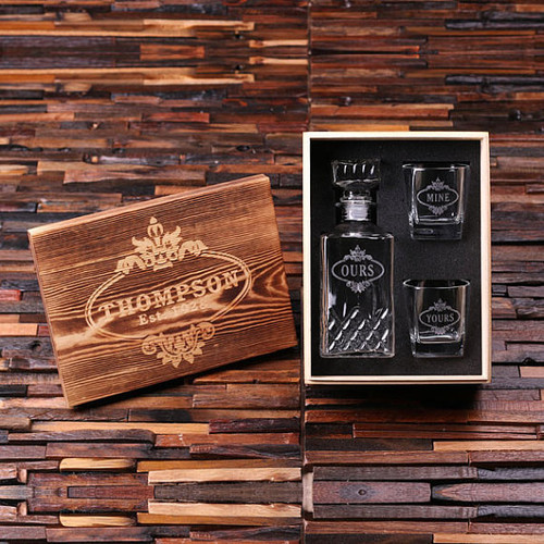 Yours & Mine Whiskey Decanter with Wood Gift Box