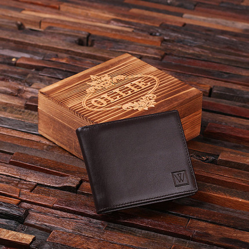 Engraved Monogrammed Men's Leather Wallet with Wood Box
