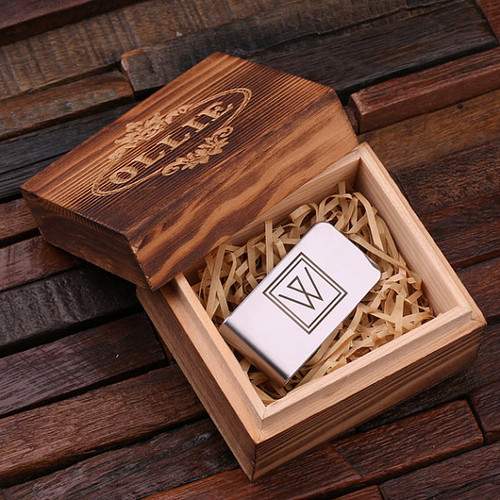 Personalized Stainless Steel Money Clip with Wood Box