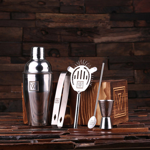 Personalized Monogrammed 5 pc. Stainless Steel Cocktail Set