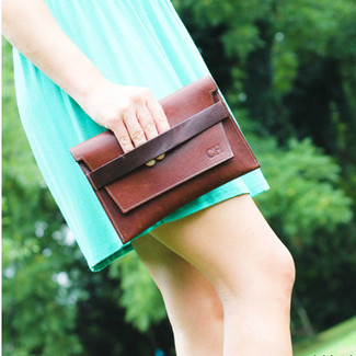 Fine Leather Bridesmaid Monogrammed Clutch Purse