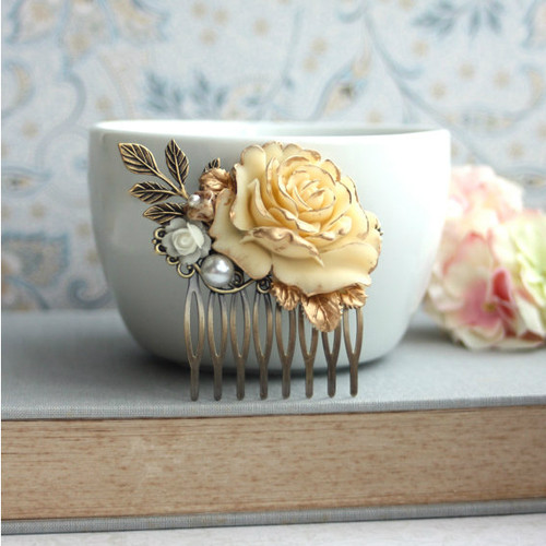 Shabby Antiqued Ivory Gold Rose Hair Comb
