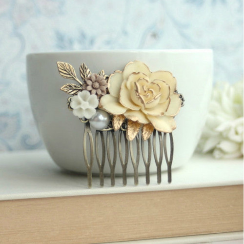 Antiqued Ivory Gold Rose Hair Comb