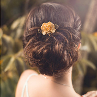 Ivory Flower Gold Hair Comb