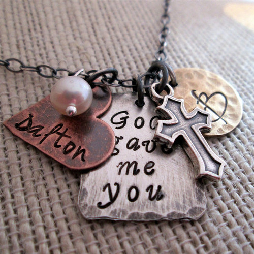 God Gave Me You Rustic Necklace