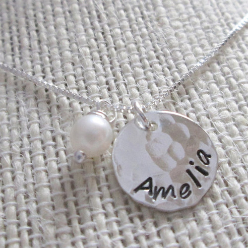 Hand Stamped Mommy Necklace