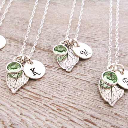 Bridesmaid Initial Leaf Necklace