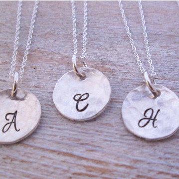 Bridesmaids Simple Initial Necklaces - Set of 5