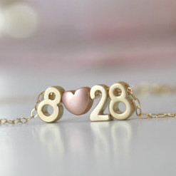 Gold Couples Number Necklace