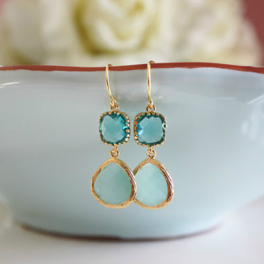 Aqua Blue Dangle Earrings
