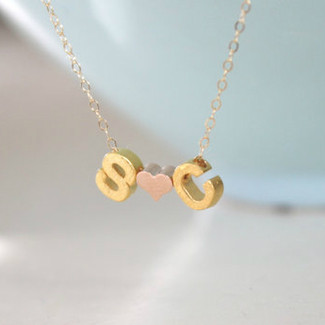 Gold Couples Initial Necklace