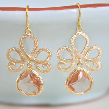 Champagne Gold Dangle Earrings