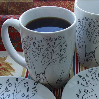 Wedding Mugs Apple Tree Folk Design - Set of 2