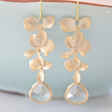 Gold Orchid Dangling Earrings