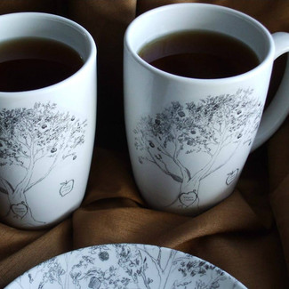 Wedding Mugs Apple Tree Fine Design - Set of 2