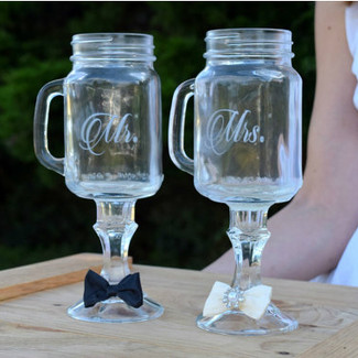 Mr. & Mrs. Mason Jar Wine Glasses - Set of 2