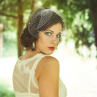 Birdcage Veil with Swarovski Crystals - in Ivory, White, Champagne or Black