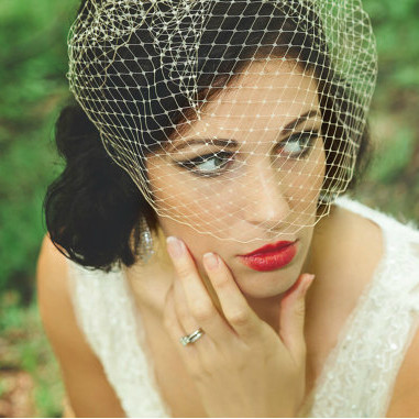 Birdcage Veil - in Ivory, White, Champagne or Black