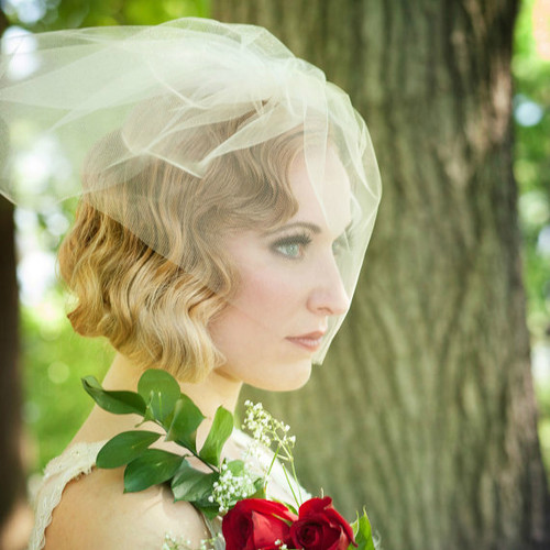 Double Layer Tulle Blusher - Birdcage Veil