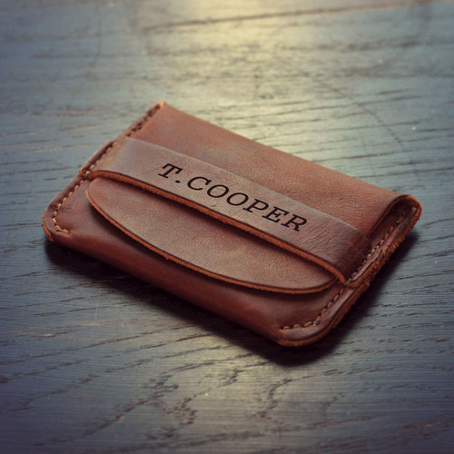 Personalized Fine Leather Front Pocket Wallet