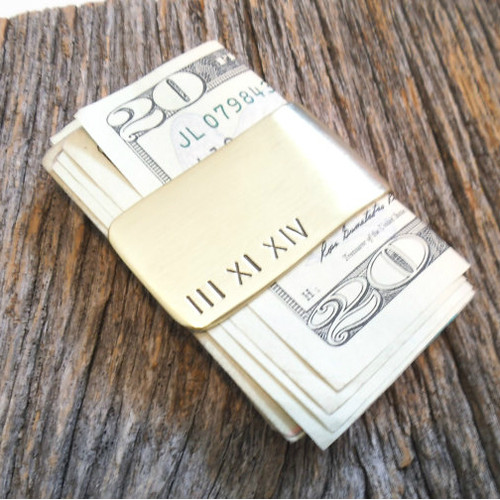 Personalized Roman Numeral Money Clip