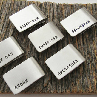 Set of 6 Groomsmens Gift Money Clip Wedding Party