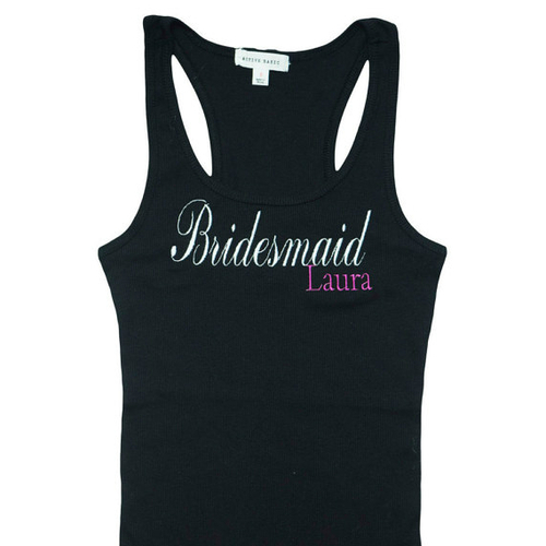 Personalized Bridesmaid Embroidered Tank Top