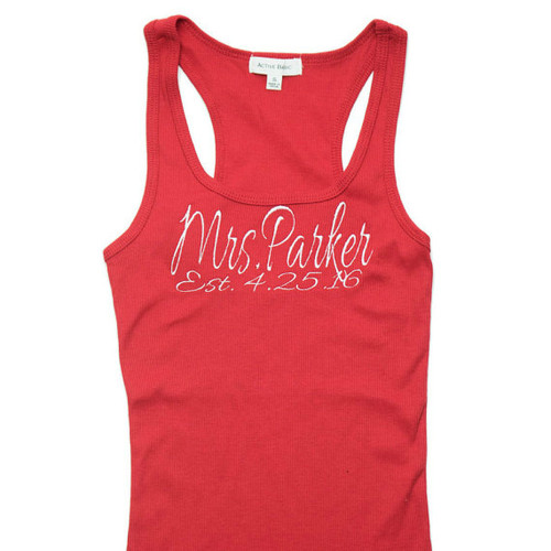 Personalized Mrs with Last Name and Date Tank Top