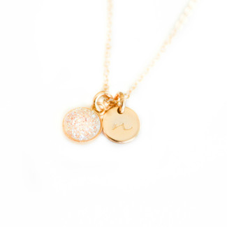 Bridesmaid Mini Druzy necklace with Tiny Initial