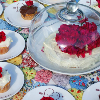 Sweethearts Cake Plate With Glass Dome and Dessert Plates