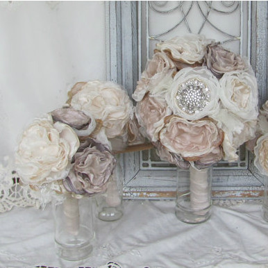 Bridal Brooch Flower Package w/ 5 Wedding Bouquets