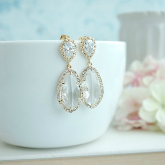 Large Teardrop Lux Gold Plated Cubic Zirconia Earrings