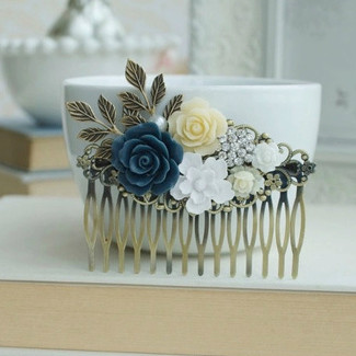Blue, White, Ivory Wedding Large Comb