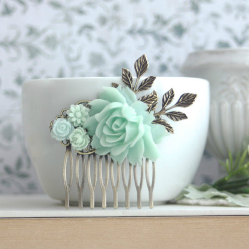 Mint Flower Hair Comb