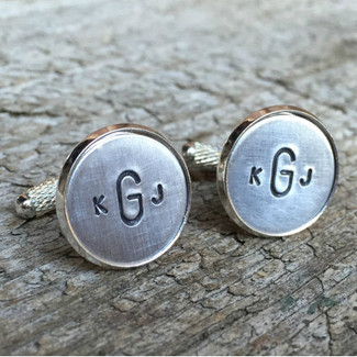 Custom Monogram Cufflinks in Aluminum