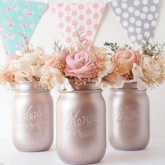 Rose Gold Wedding Centerpiece Mason Jars