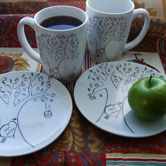 Apple Tree Folk Design Wedding Mugs or Dessert Plates - Set of 8
