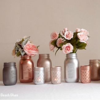 Blush Rose Gold Wedding Centerpiece Metallic Mason Jars