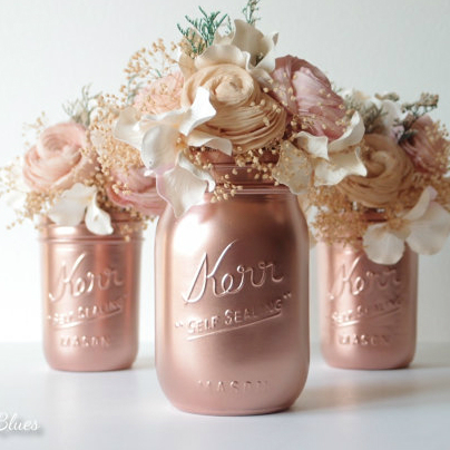 Pink Copper Painted Mason Jars