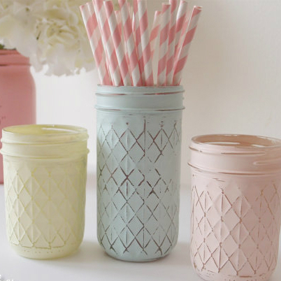 Beach Wedding Decor Painted Mason Jars