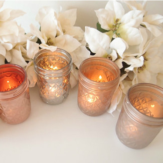 Metallic Painted Mason Jar Candle Holders