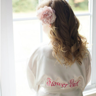 Flower Girl Satin Wedding Robe - with Back Embroidery
