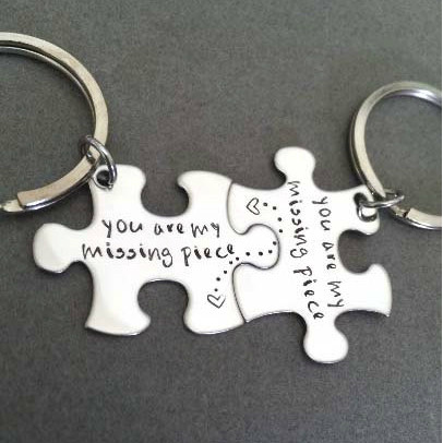 You Are My Missing Piece Couples Keychains