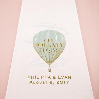 Vintage Travel Hot Air Balloon Personalized Wedding Aisle Runner