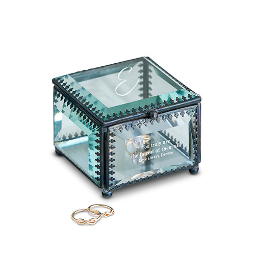 Vintage Inspired Glass Wedding Ring Box