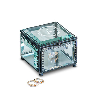 Vintage Inspired Glass Wedding Ring Box with Monogram